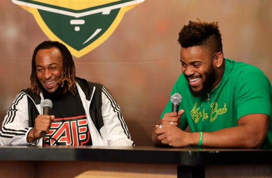Green Bay Packers running back Aaron Jones (left) co-hosted Monday's Clubhouse Live in Appleton. Jones' guest was Packers rookie defensive lineman Kingsley Keke.