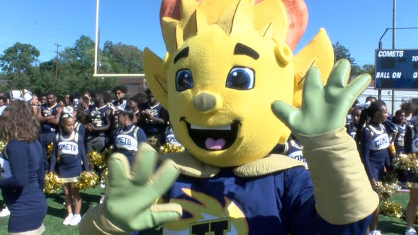 The Hackensack High School 'Comet' gets fired up during a taping of the Red Zone Road Show Tuesday, September 17, 2019.  They will face off against Paramus Catholic Friday night.