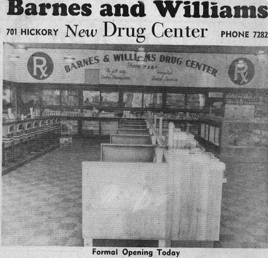 A newspaper clipping from January 1945 shows off the new Barnes and Williams location.