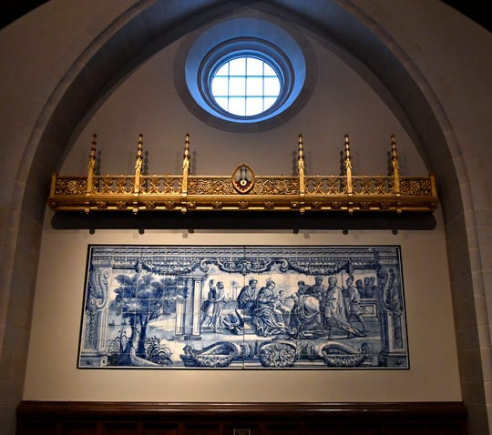 """Adoration of the Magi"", an 18th Century Portuguese Azueljo mural hangs inside Gerhart Hall."