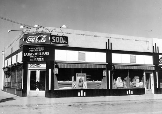 An undated photo of Barnes-Williams Drug Co. on Hickory Street when it included a soda fountain.