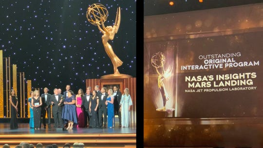 NASA JPL's public engagement and digital news offices gather onstage after winning an Emmy award for the Mars InSight landing on Sunday, Sept. 15, 2019.