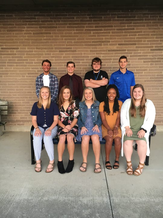 2019 Wynford Homecoming Court. From left, front, are Emma Lohr, Lainey Holman, Addison Wood, Jaylah Westberry, and Eleni Ritzler; and back, Isaac Hedrick, Thomas Kurek, Kenny Minich and Josh Crall. Not pictured: Carson Heinlen.