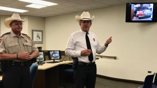 Nueces County Sheriff J.C. Hooper and Capt. Danny Lorberau speak to media about money seized during Operation Poison Pipeline, a two-day operation, that targeted crimes along roads that run from Mexico to Houston.