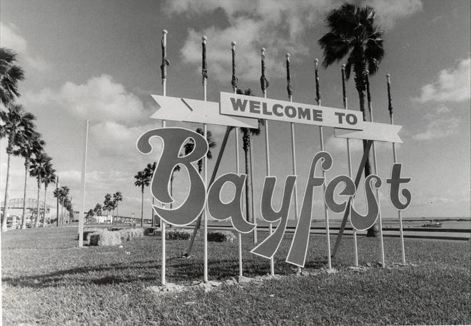Entrance sign at Bayfest in downtown Corpus Christi in September 1977.
