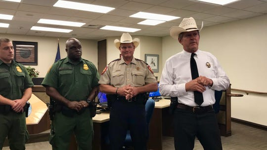 Nueces County Sheriff J.C. Hooper speaks to media about Operation Poison Pipeline. The two-day operation was conducted by the Nueces County Sheriff's Office, the Nueces County District Attorney's Criminal Interdiction Unit, Corpus Christi Police Department and U.S. Border Patrol.