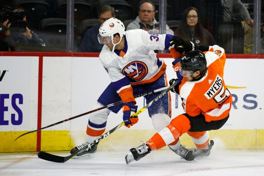 Phil Myers was paired with Egor Zamula in the Flyers' first preseason game Monday night, a 3-1 loss to the New York Islanders.