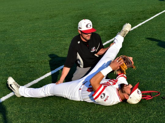It's stretch time for the Florence Freedom as they prepare for the final game of the Frontier League Championship at UC Health Stadium in Florence, KY, September 16, 2019.