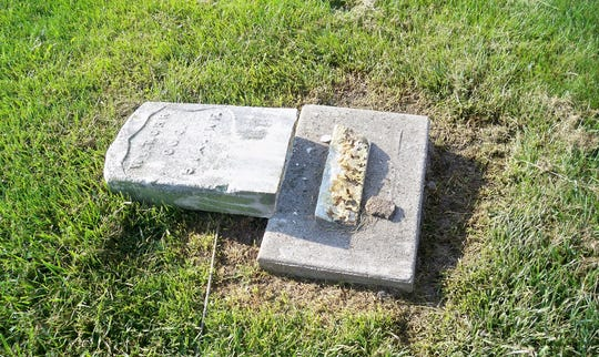 The grave of William T. Orr, a Civil War veteran, was among the graves vandalized at Winterset Cemetery Sunday.