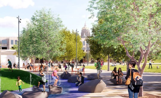 The Market District master plan calls for parks, greenspaces and three-lined streets.