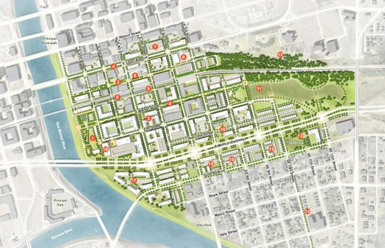 Des Moines city officials say development of the Market District, located south of the East Village, could generate $110 million in taxes over the next 20 years.