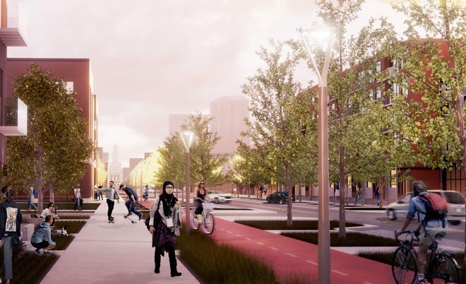 The Market District will contain a robust bicycle and pedestrian network. Every street within the neighborhood is lined by a 6- to 10-foot sidewalk in order to encourage walking.