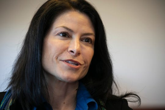 Michigan Attorney General Dana Nessel talks about her plans Friday Jan. 4, 2019 from her new office in Lansing.