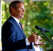 In this July 9, 2019, file photo Tennessee Gov. Bill Lee speaks in East Ridge, Tenn. Tennessee would become the first state in the nation to receive its Medicaid funding in a lump sum under a proposal seeking to drastically overhaul the program that provides health care services to low-income and disabled residents.