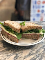 A soppressata salami sandwich on country bread at Ochre Bakery.