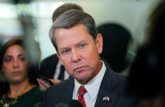 FILE - In this Wednesday, Aug. 29, 2018, file photo, Georgia Secretary of State Brian Kemp addresses the media at a news conference at his Atlanta headquarters. Kemp will soon get to appoint a replacement for three-term U.S. Sen. Johnny Isakson, who announced that he's stepping down in December 2019 due to health issues.
