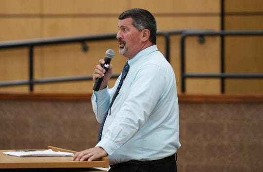 Addison Community Schools superintendent Steve Guerra speaks during a fact finding meeting at Addison High School on Monday, Sept. 9, 2019 to explore whether staff at the school should be allowed to carry guns. A timeline for a decision on the proposal has not been determined.