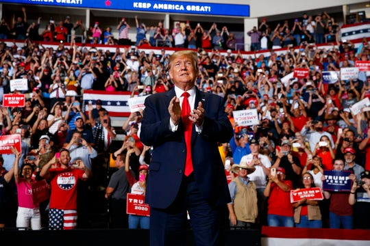 President Donald Trump arrives to speak at a campaign rally at the Santa Ana Star Center, Monday, Sept. 16, 2019, in Rio Rancho, N.M.