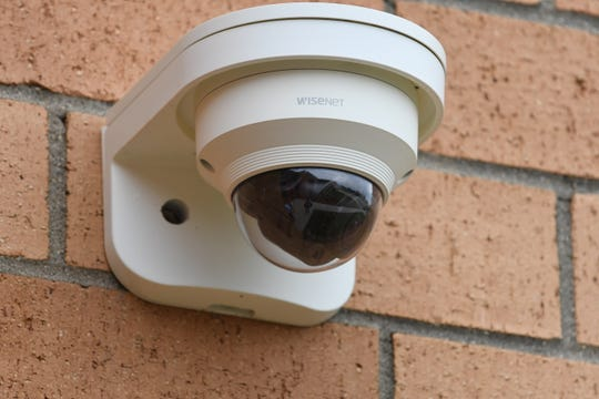This surveillance camera mounted outside Addison High School is one of many inside and outside the Addison School's campus.