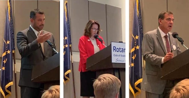 Vanderburgh County Commissioners Ben Shoulders, Cheryl Musgrave and Jeff Hatfield (left to right) spoke at Tuesday's Rotary Club of Evansville meeting.