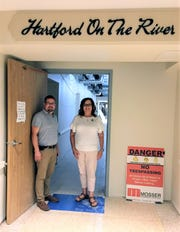 Hartford On The River, assisted living wing of Riverview Healthcare Campus, will be completed soon. It will be part of the Oct. 15 tour. Environmental Director Will Clymer and Assistant Pat Winters stand at the entrance of the area as work continues.