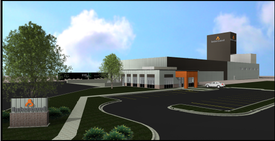 A rendering of the Intersand cat litter plant in Windsor. The Canadian company broke ground Tuesday at the Great Western Industrial Park.
