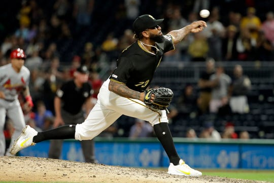 Pittsburgh Pirates relief pitcher Felipe Vazquez delivers during the ninth inning of a baseball game against the St. Louis Cardinals in Pittsburgh, Friday, Sept. 6, 2019. The Pirates won 9-4. (AP Photo/Gene J. Puskar)