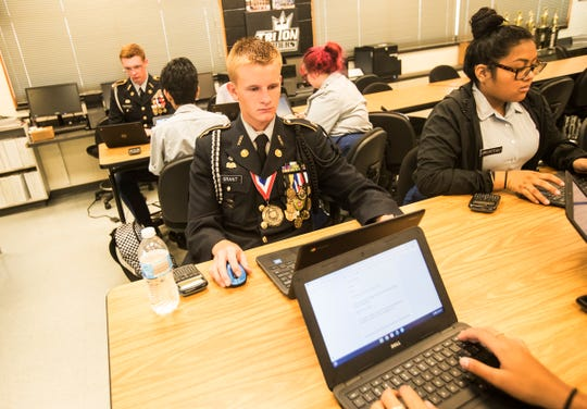 Mariner High School JROTC student Dylan Grant participates in class on Tuesday, Sept. 17, 2019. The U.S. Army Cadet Command chose Mariner High School for a pilot program that institutes more technology among other amenities into the curriculum.