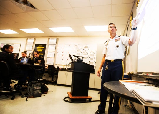 Mariner High School JROTC teacher, Major (retired) Bryan Williams teaches a class on Tuesday, Sept. 17, 2019. The U.S. Army Cadet Command chose Mariner High School for a pilot program that institutes more technology among other amenities into the curriculum.