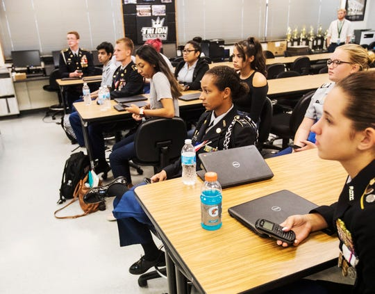 Mariner High School JROTC students  participate in a class on Tuesday, Sept. 17, 2019. The U.S. Army Cadet Command chose Mariner High School for a pilot program that institutes more technology among other amenities into the curriculum.