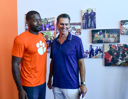 "Ramon ""Ray Ray"" McElrathbey, left, and ""Safety"" movie producer Mark Ciardi at the Paw Journey Center in the Allen Reeves football complex in Clemson Tuesday, September 17, 2019."