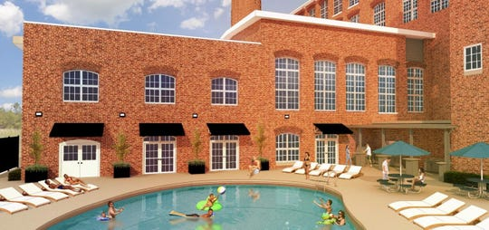 This rendering, provided in August 2019 to Greenville County planners by architect Scott Lambert, shows the layout of a proposed swimming and grill area at a new building adjacent to the American Spinning Mill redevelopment project.