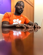 "Former Clemson football player Ramon ""Ray Ray"" McElrathbey talks about contributing to the Disney movie production of ""Safety"" during an interview in the Allen Reeves football complex in Clemson Tuesday, September 17, 2019."