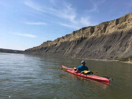 Kayaking along the White Cliffs section of the Missouri River
