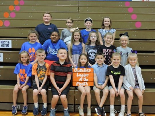 Chandler Elementary School's August Leaders of the Month have been announced. They are first row, from left: Ronni Vailes, Grant Davis, Jackson Smith, Mercedes Garrett, Cole Hatfield, Gemma Parker and Avery Keyes. Second row from left: Katey Crockett, Delano Taylor, Praislynn Henderson, Haylee Funk, Pacey Parker and Payzlee Pippin. Third row from left: Caleb Burke, Ethan Durham, Katelyn Hayden and Riley Smith.
