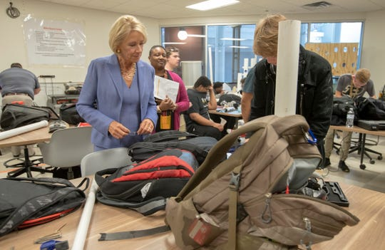Betsy DeVos, the United States Secretary of Education, visits Purdue Polytechnic High School, Indianapolis, Tuesday, Sept. 17, 2019.