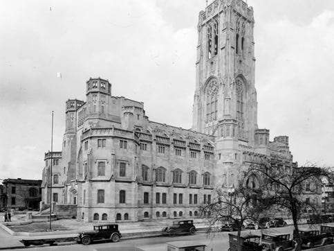 Scottish Rite Cathedral in 1929 before the dedication. The Cathedral is the world's largest and cost $2.5 million to build. The entire structure is laid out in multiples of 33 feet , symbolizing the 33 years of Jesus Christ's life.