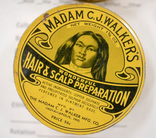 A tin that will be on display at an exhibit at the Indiana Historical Society featuring artifacts and re-enactors portraying Madam C.J. Walker. The African American activist and entrepreneur, who died in 1919, created a line of cosmetics and hair care products.
