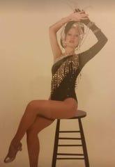 "Rockette Darlene Wendy poses in her ""Dancing in Diamonds"" costume designed by Bob Mackie"