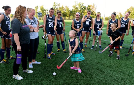 "Nora Zelko was diagnosed with neuroblastoma shortly after being born and has spent much of her young life undergoing cancer treatment. The Horseheads girl was recently ""adopted"" by the Ithaca College field hockey team and enjoys being a special guest at their games."
