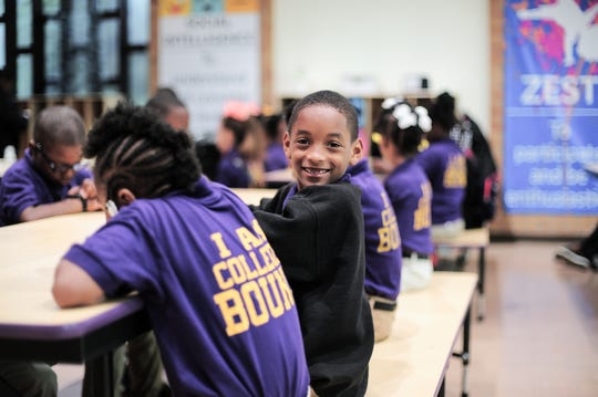 Students assemble for morning motivations, updates and announcements at Clarksdale Collegiate in Clarksdale, Miss., on April 25, 2019.