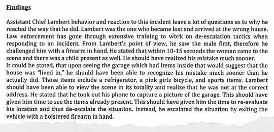 An excerpt from a report written by UTPD Lt. Donnie Ross that summarizes the findings of the department's internal investigation into Keith Lambert.