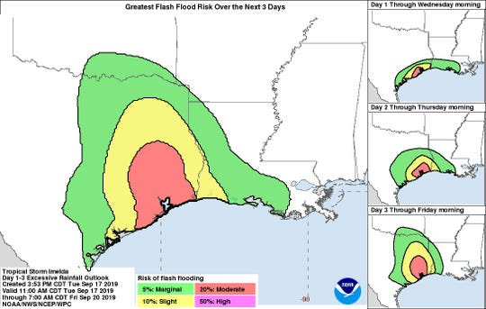 Excessive rainfall and flash flood risk three-day outlook for Tropical Storm Imelda