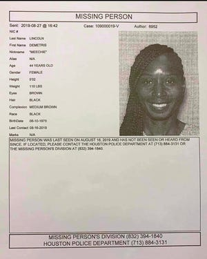 The St. Landry Parish Sheriff's Office identified a woman who was found dead in a ditch as Demetris Lincoln, who is seen in this missing person's poster.