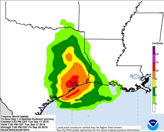 Tropical Storm Imelda three-day rainfall forecast shows bands of rain expected in Louisiana.