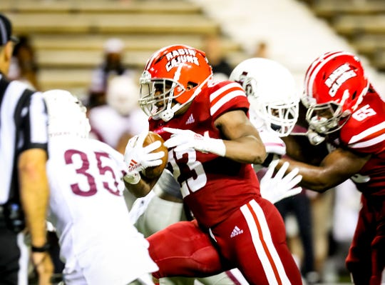 UL running back T.J. Wisham runs for some of his 103 yards in a 77-6 win over Texas Southern.