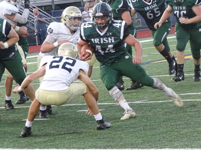 Fisher Catholic senior running back Trey Fabricini has scored nine touchdowns in the Irish's first three games. They will host rival Berne Union on Friday at Fulton field.