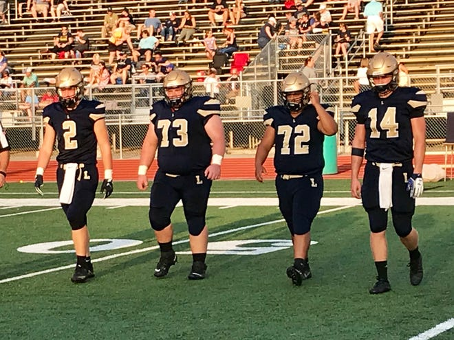 Lancaster captains from left to right: Owen Snyder, Dalton Golden, Devon Pearson and Curtis Young, will look to lead the Golden Gales to their first wi over the season when they travel to rival Newark on Friday.
