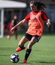 Louisville soccer player Emina Ekic, practicing recently with the team, started all 19 matches in the midfield. She finished the 2018 season with seven goals and five assists for 19 points. She was also listed to the All-ACC Academic Soccer team. Sept. 17, 2019.