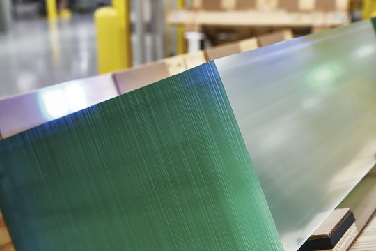 A stack of Gorilla Glass, the thin, scratch-resistant glass used on iPhones and Apple watches, is ready for shipment from Corning Inc.'s Harrodsburg, Ky., manufacturing plant.